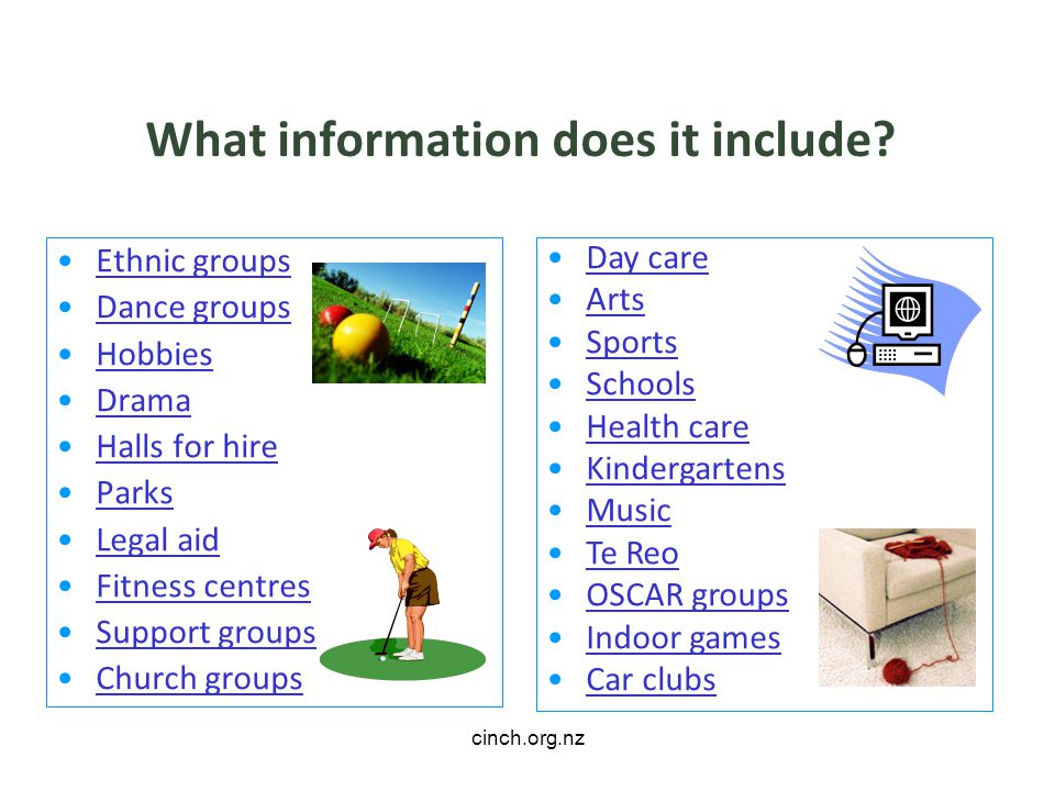 cinch.org.nz What information does it include.