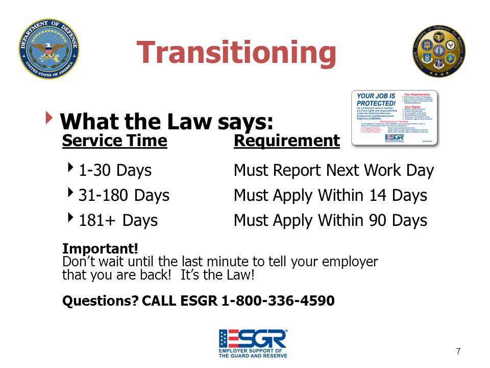 Transitioning What the Law says: Service TimeRequirement 1-30 Days Must Report Next Work Day 31-180 DaysMust Apply Within 14 Days 181+ DaysMust Apply