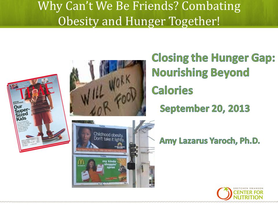 Why Cant We Be Friends? Combating Obesity and Hunger Together!