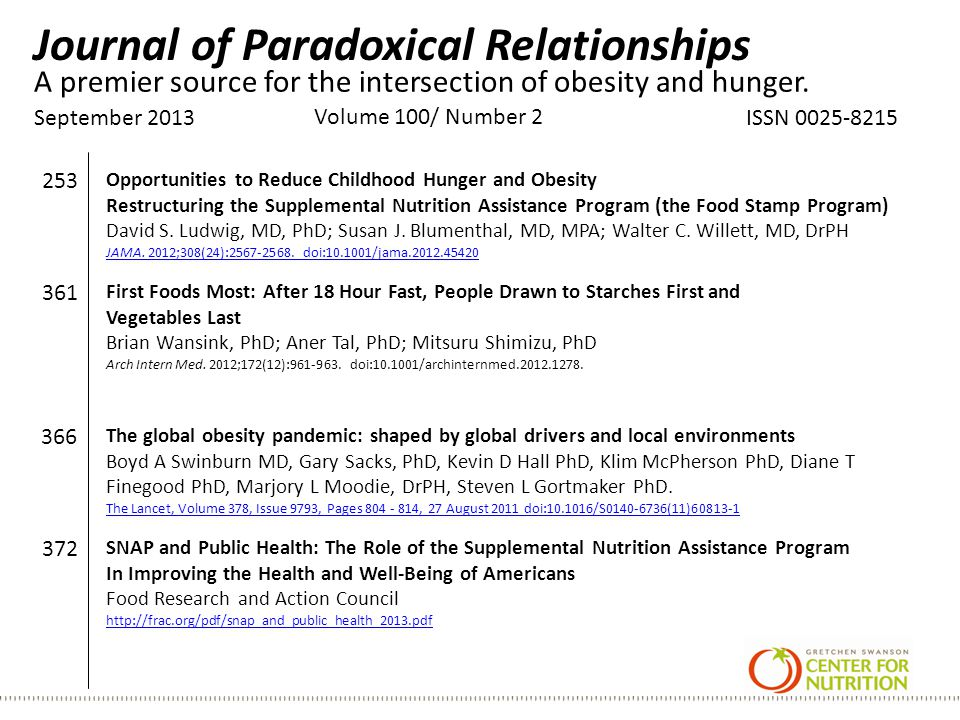 Journal of Paradoxical Relationships September 2013 Volume 100/ Number 2 ISSN 0025-8215 A premier source for the intersection of obesity and hunger.
