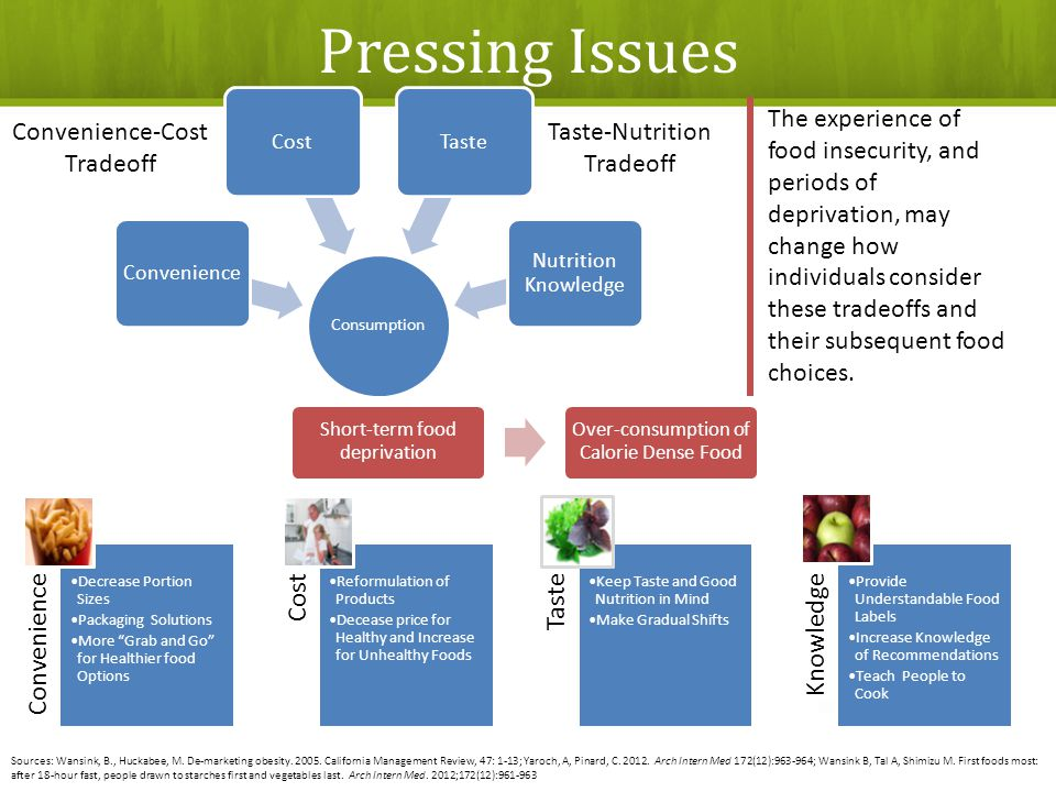 Consumption ConvenienceCostTaste Nutrition Knowledge Convenience Decrease Portion Sizes Packaging Solutions More Grab and Go for Healthier food Options Cost Reformulation of Products Decease price for Healthy and Increase for Unhealthy Foods Taste Keep Taste and Good Nutrition in Mind Make Gradual Shifts Knowledge Provide Understandable Food Labels Increase Knowledge of Recommendations Teach People to Cook Convenience-Cost Tradeoff Taste-Nutrition Tradeoff Sources: Wansink, B., Huckabee, M.