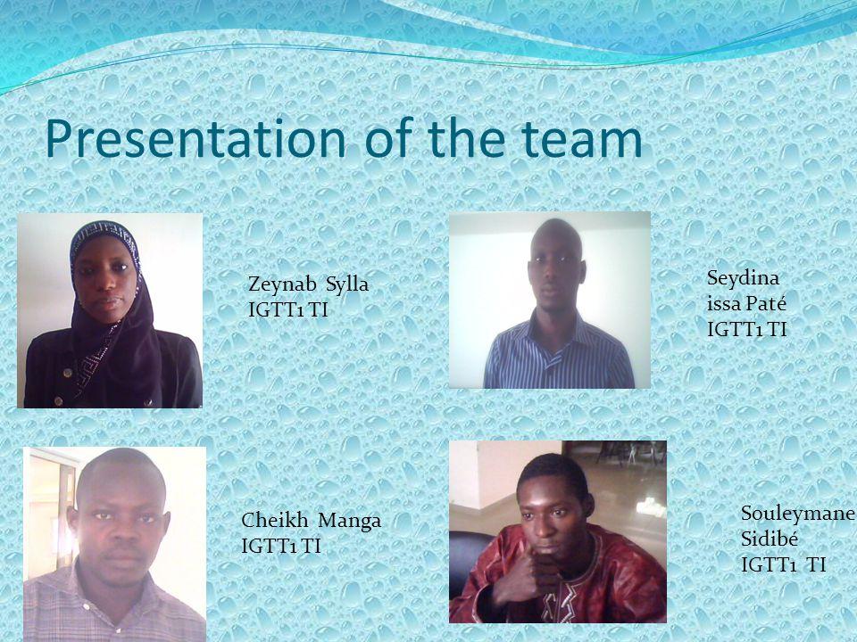 Presentation of the team Zeynab Sylla IGTT1 TI Seydina issa Paté IGTT1 TI Cheikh Manga IGTT1 TI Souleymane Sidibé IGTT1 TI