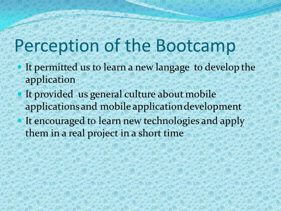 Perception of the Bootcamp It permitted us to learn a new langage to develop the application It provided us general culture about mobile applications