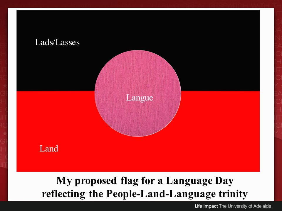 Lads/Lasses Land Langue My proposed flag for a Language Day reflecting the People-Land-Language trinity