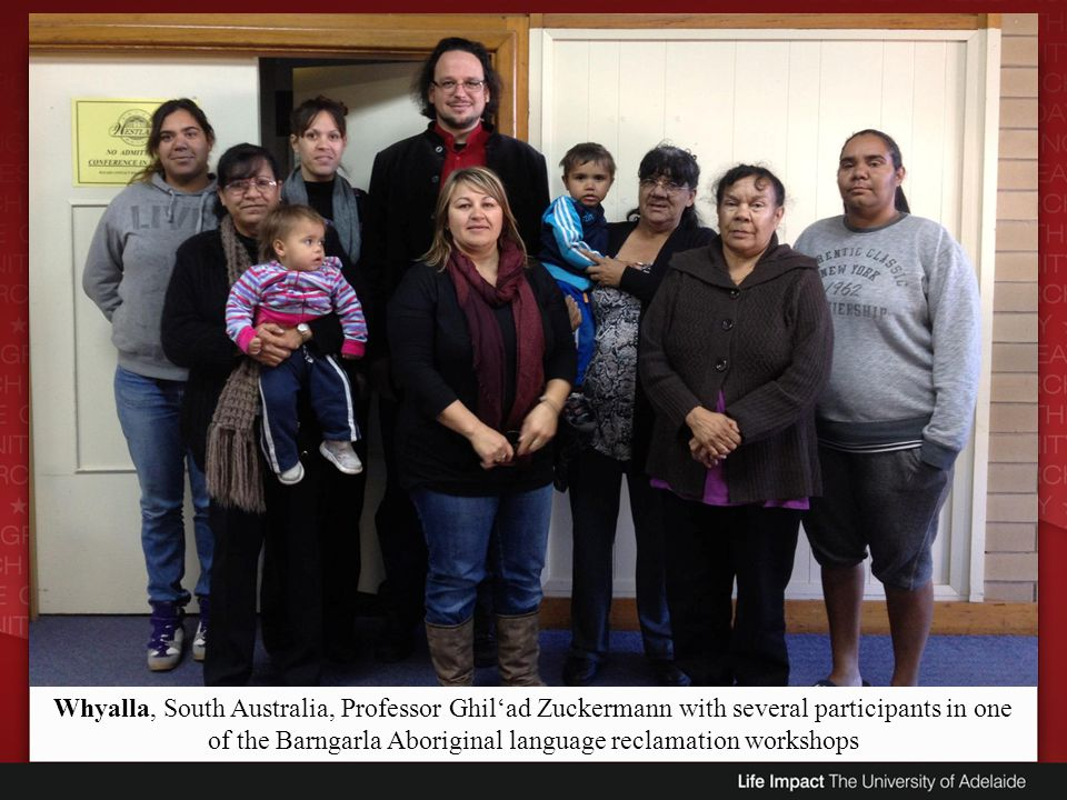 Whyalla, South Australia, Professor Ghilad Zuckermann with several participants in one of the Barngarla Aboriginal language reclamation workshops
