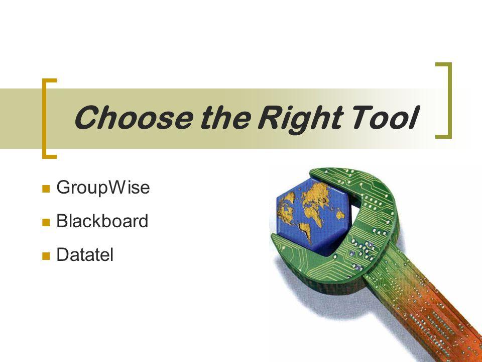 Choose the Right Tool GroupWise Blackboard Datatel