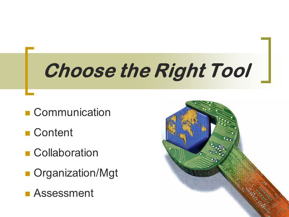 Choose the Right Tool Communication Content Collaboration Organization/Mgt Assessment