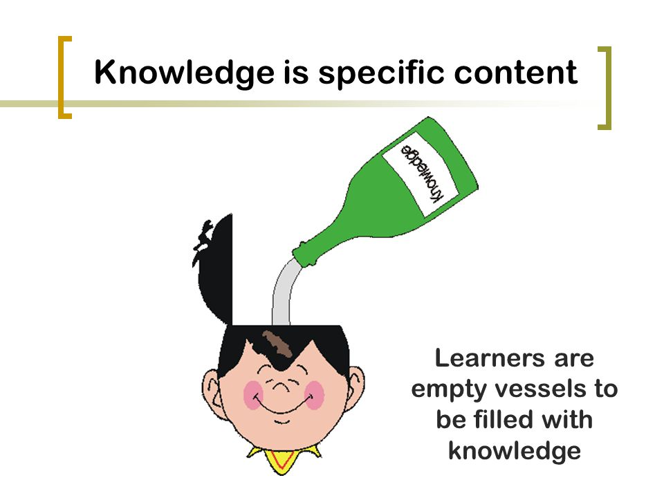 Knowledge is specific content Learners are empty vessels to be filled with knowledge