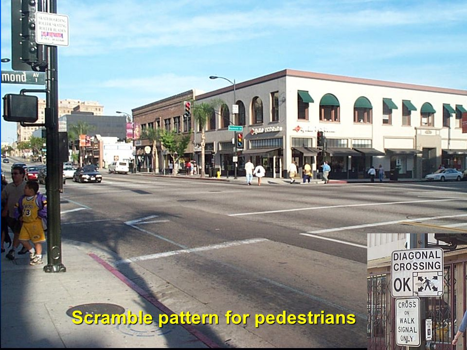 Scramble pattern for pedestrians