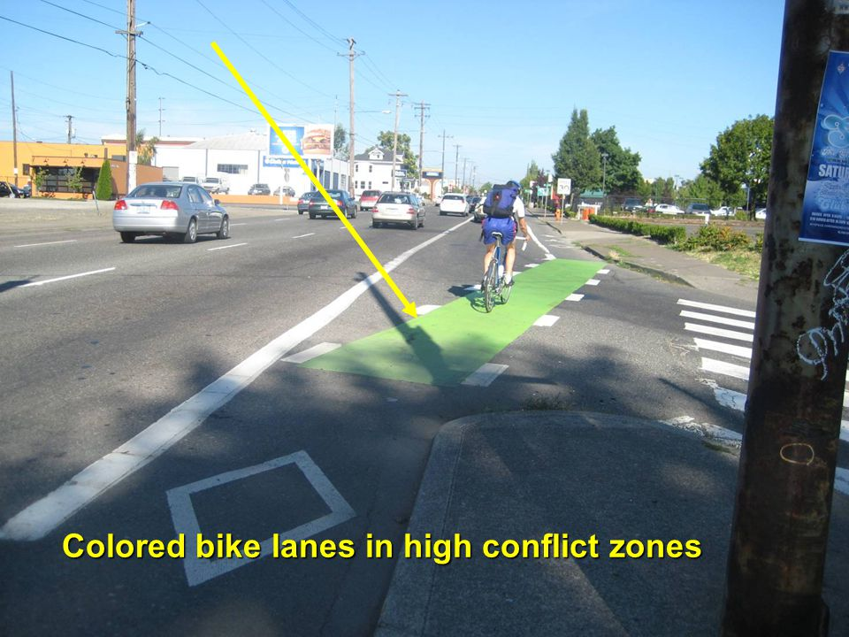 Colored bike lanes in high conflict zones