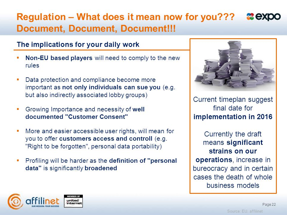 Page 22 The implications for your daily work Regulation – What does it mean now for you .