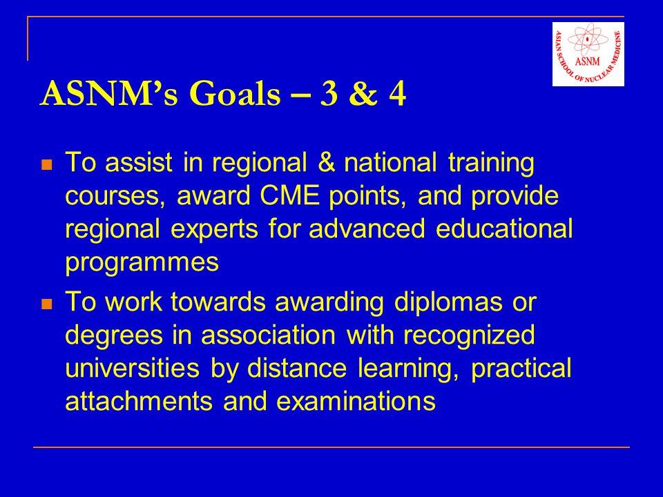 ASNMs Programmes – 1 (enunciated October 2007) Educational Programmes & Plans 1.
