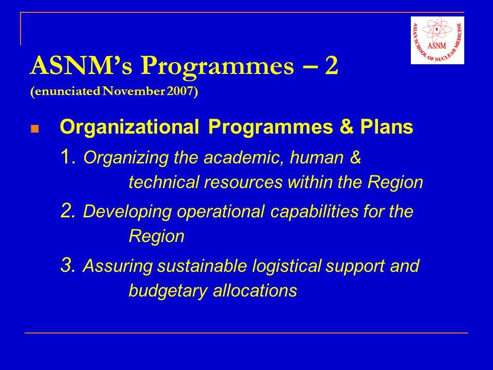 Educational Program - 1 Standardization of NM Training Programmes in the Region A.