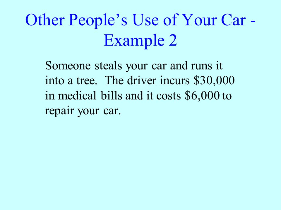 Other Peoples Use of Your Car - Example 2 A0 B5,900 C6,000 D30,900 ENone of the above