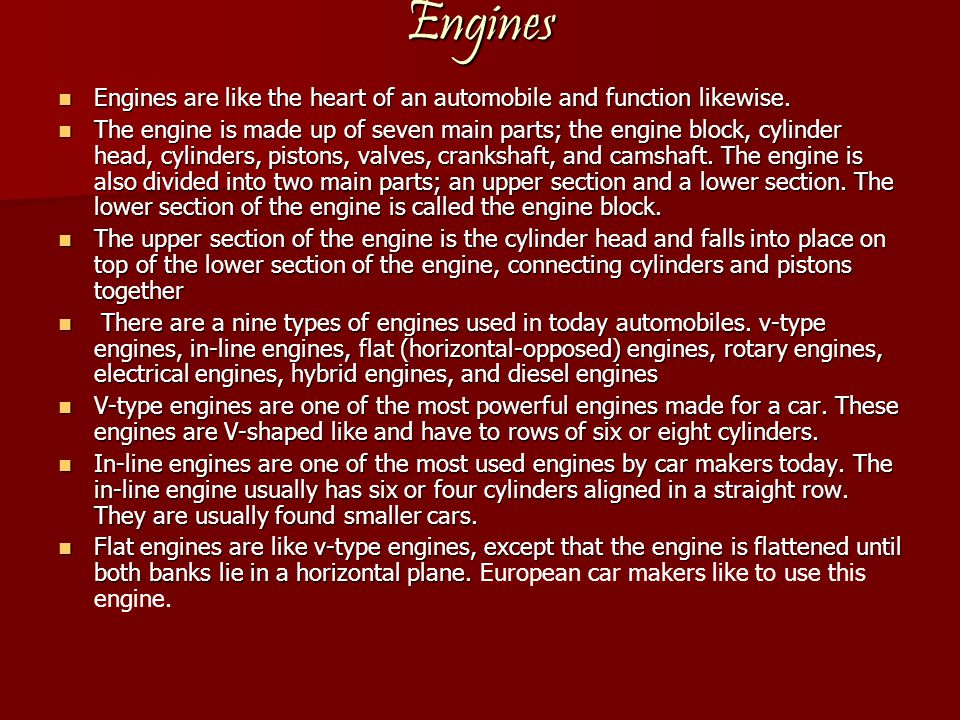 Engines (cont.) Rotary Rotary Engine is one of the weirdest engines of all.