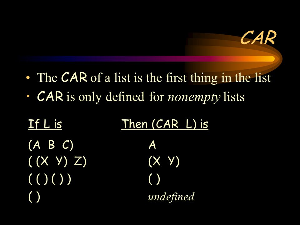 CAR The CAR of a list is the first thing in the list CAR is only defined for nonempty lists If L is Then (CAR L) is (A B C)A ( (X Y) Z)(X Y) ( ( ) ( ) )( ) ( ) undefined