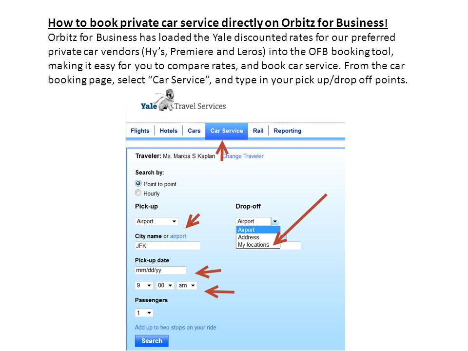 How to book private car service directly on Orbitz for Business .