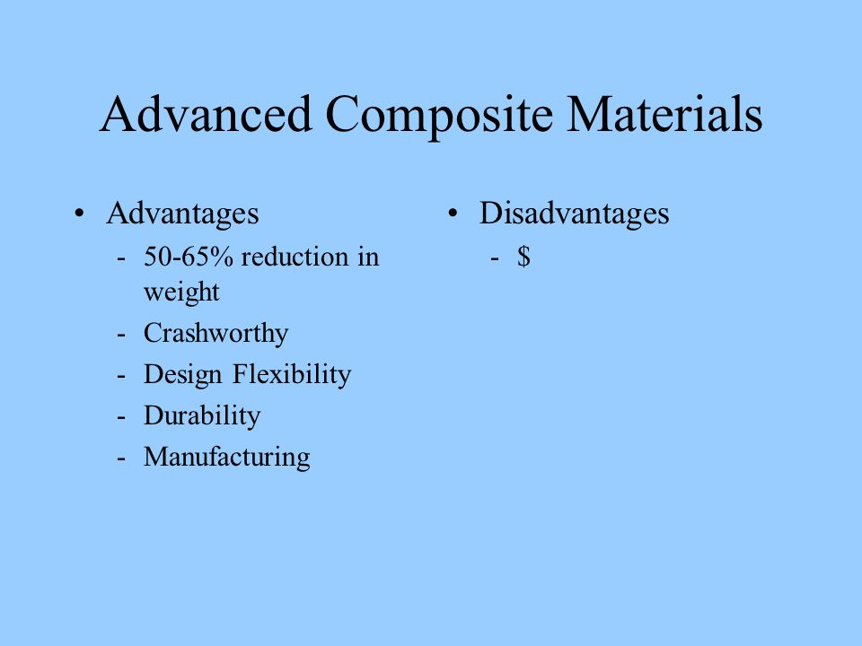 Advanced Composite Materials Advantages -50-65% reduction in weight -Crashworthy -Design Flexibility -Durability -Manufacturing Disadvantages -$