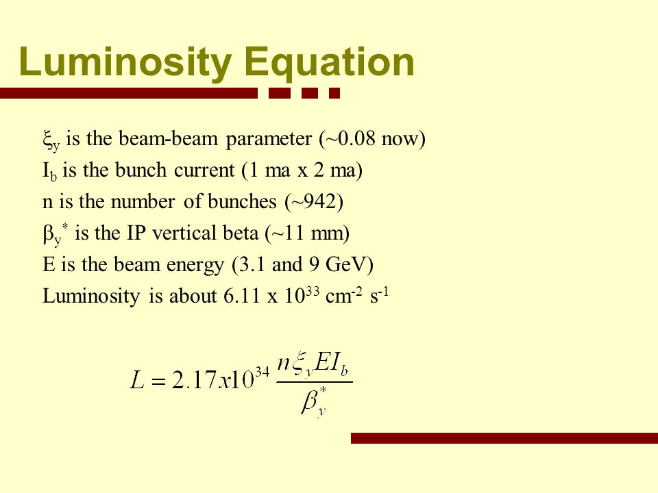 Luminosity Equation y is the beam-beam parameter (~0.08 now) I b is the bunch current (1 ma x 2 ma) n is the number of bunches (~942) y * is the IP vertical beta (~11 mm) E is the beam energy (3.1 and 9 GeV) Luminosity is about 6.11 x 10 33 cm -2 s -1