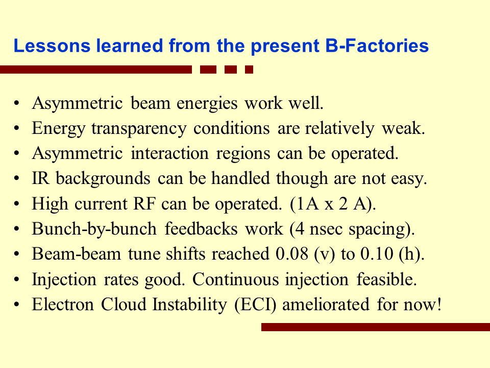 Lessons learned from the present B-Factories Asymmetric beam energies work well.