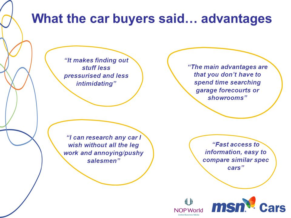 What the car buyers said… advantages The main advantages are that you dont have to spend time searching garage forecourts or showrooms It makes finding out stuff less pressurised and less intimidating I can research any car I wish without all the leg work and annoying/pushy salesmen Fast access to information, easy to compare similar spec cars