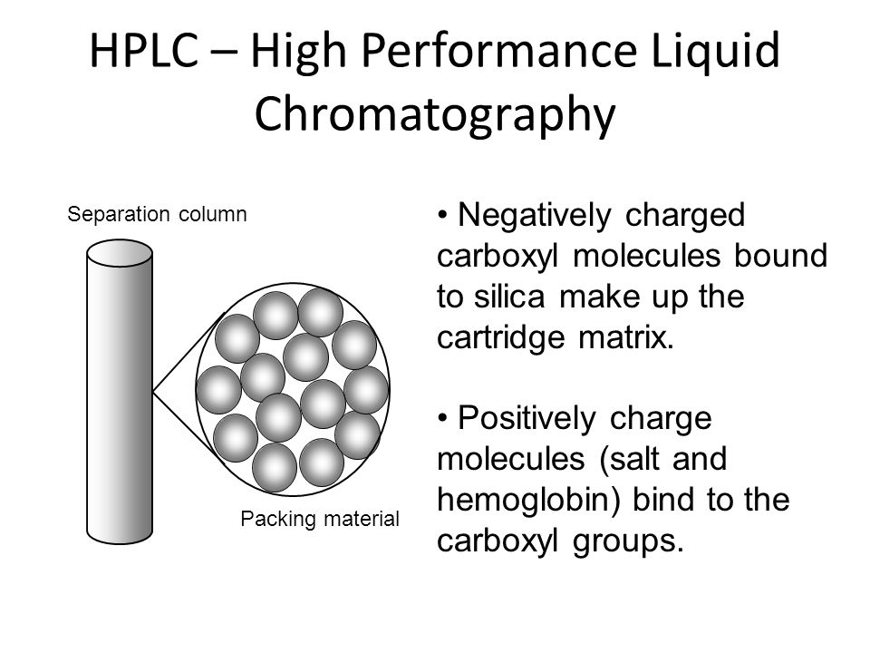 HPLC – High Performance Liquid Chromatography Separation column Packing material Negatively charged carboxyl molecules bound to silica make up the car