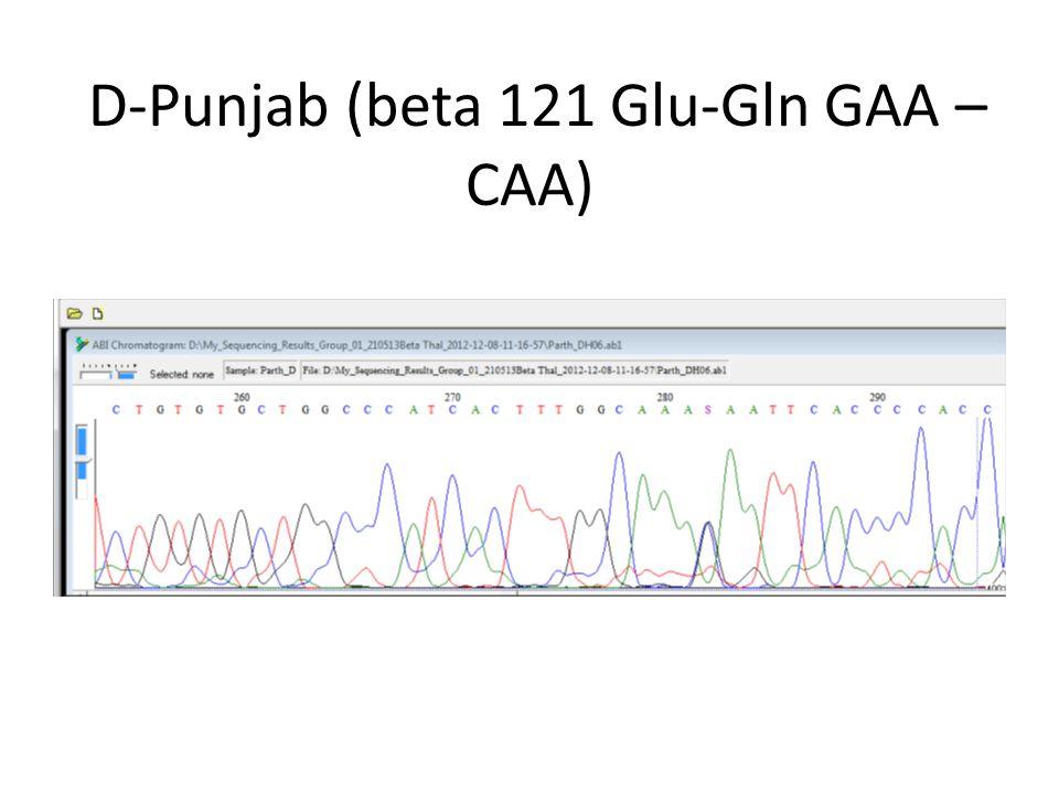 D-Punjab (beta 121 Glu-Gln GAA – CAA)