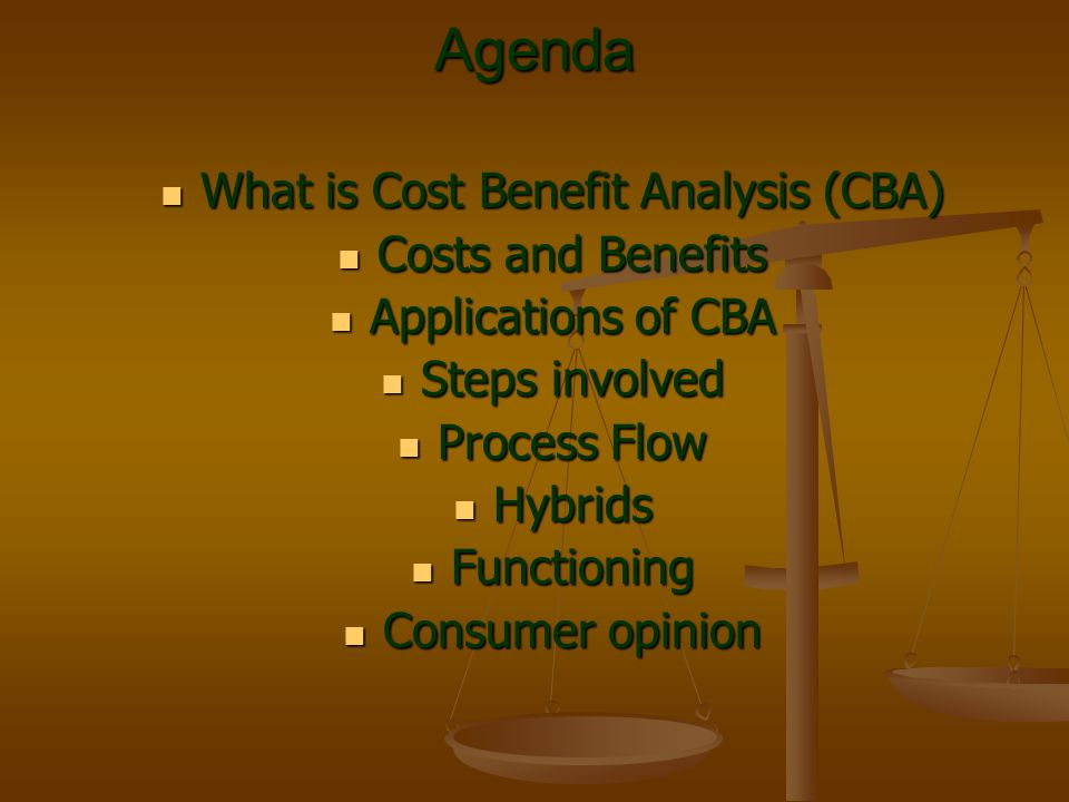 Agenda What is Cost Benefit Analysis (CBA) What is Cost Benefit Analysis (CBA) Costs and Benefits Costs and Benefits Applications of CBA Applications
