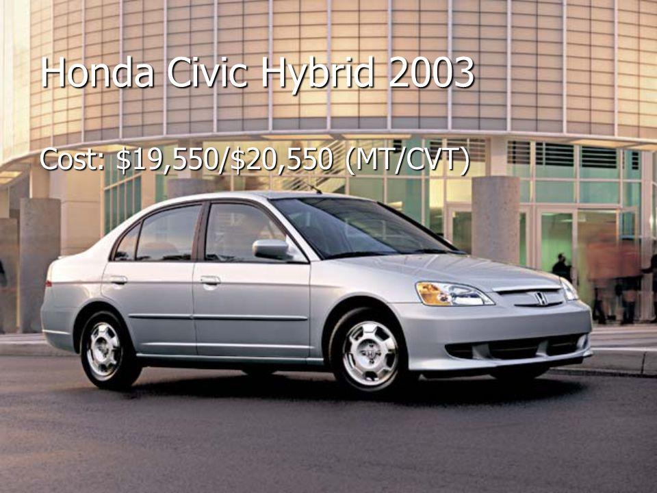 Honda Civic Hybrid 2003 Cost: $19,550/$20,550 (MT/CVT)