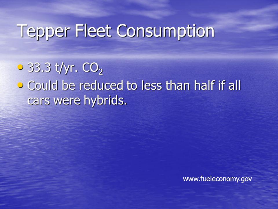 Tepper Fleet Consumption 33.3 t/yr. CO 2 33.3 t/yr.
