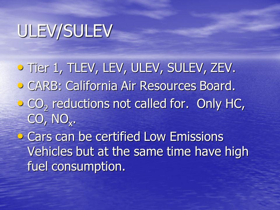 ULEV/SULEV Tier 1, TLEV, LEV, ULEV, SULEV, ZEV. Tier 1, TLEV, LEV, ULEV, SULEV, ZEV. CARB: California Air Resources Board. CARB: California Air Resour