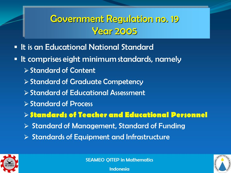SEAMEO QITEP in Mathematics Indonesia 3 Government Regulation no.