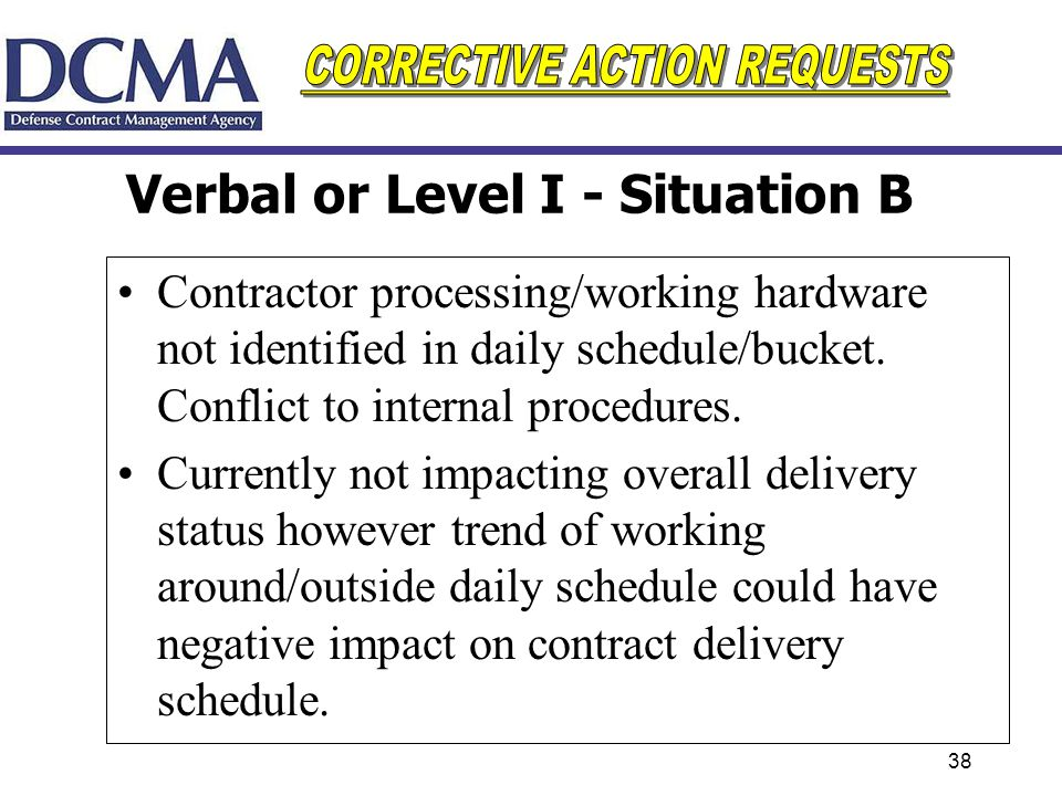 38 Verbal or Level I - Situation B Contractor processing/working hardware not identified in daily schedule/bucket. Conflict to internal procedures. Cu