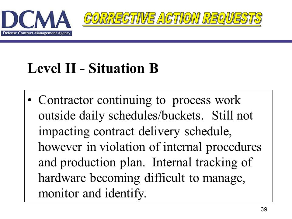 39 Level II - Situation B Contractor continuing to process work outside daily schedules/buckets. Still not impacting contract delivery schedule, howev