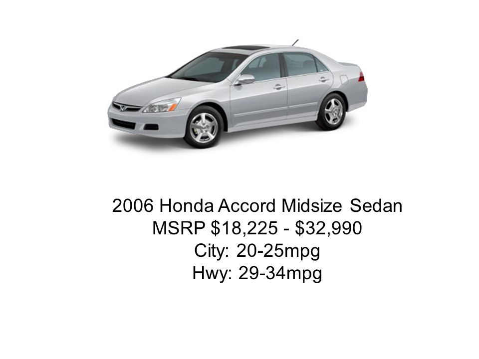 2006 Honda Accord Midsize Sedan MSRP $18,225 - $32,990 City: 20-25mpg Hwy: 29-34mpg