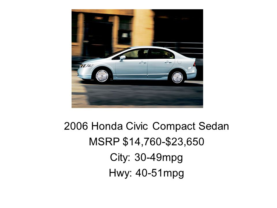 2006 Honda Civic Compact Sedan MSRP $14,760-$23,650 City: 30-49mpg Hwy: 40-51mpg