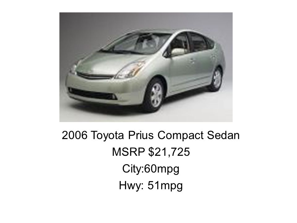 2006 Toyota Prius Compact Sedan MSRP $21,725 City:60mpg Hwy: 51mpg