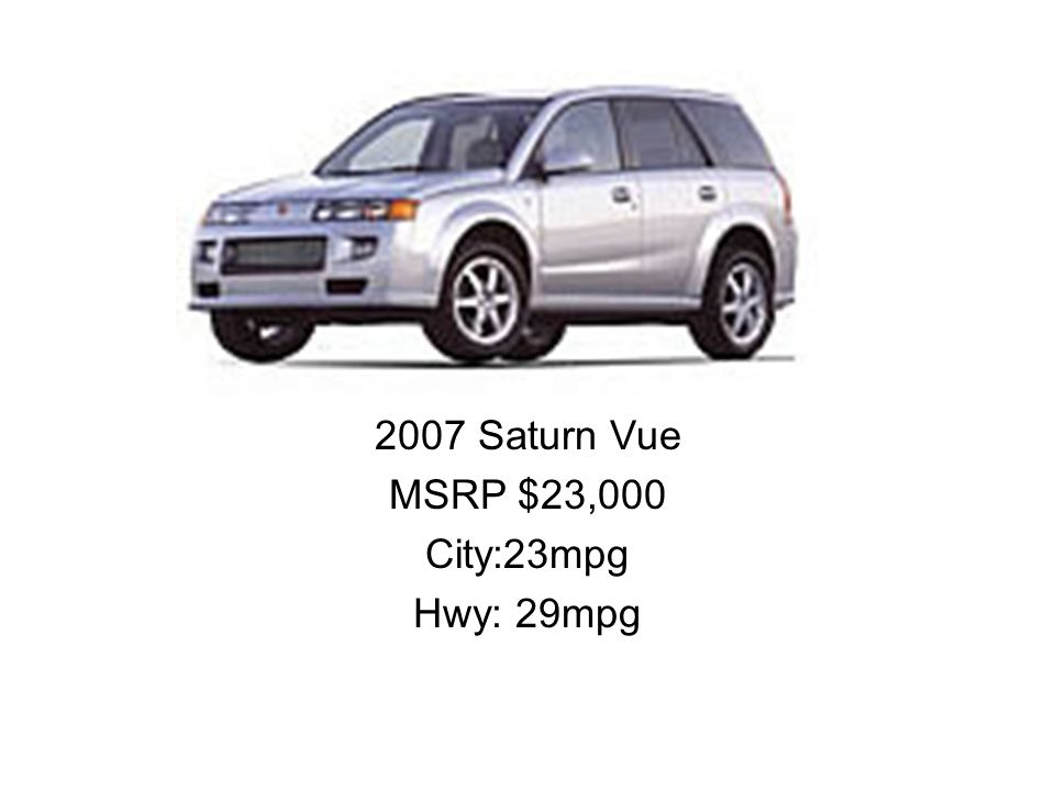 2007 Saturn Vue MSRP $23,000 City:23mpg Hwy: 29mpg