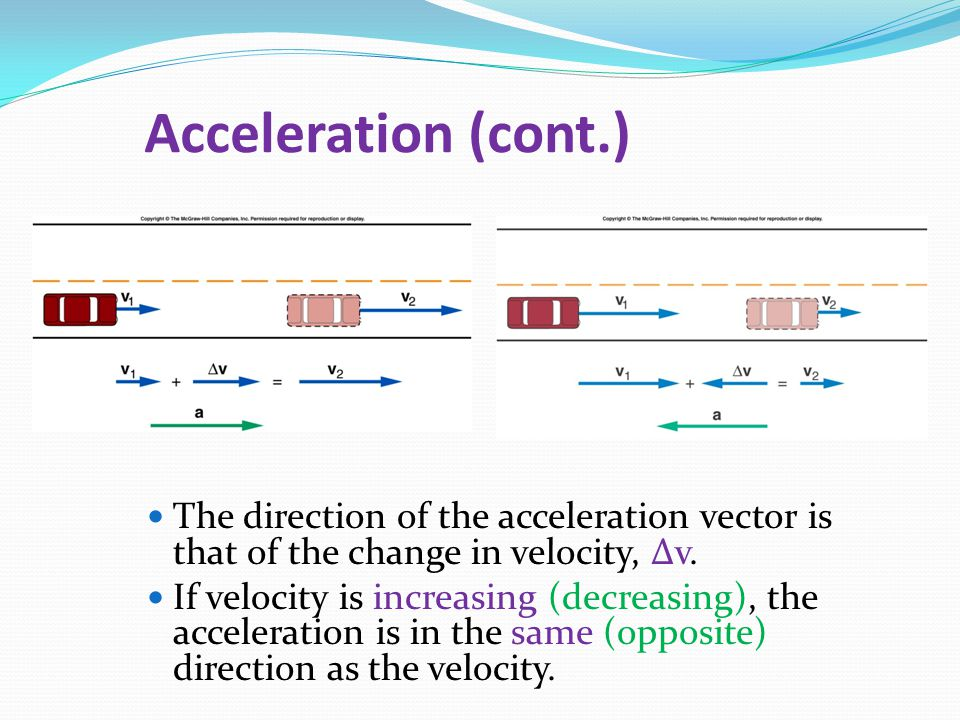 Acceleration (cont.) The direction of the acceleration vector is that of the change in velocity, v.