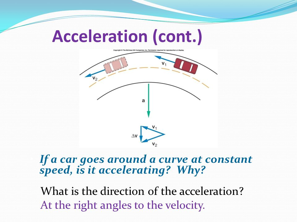 Acceleration (cont.) What is the direction of the acceleration.