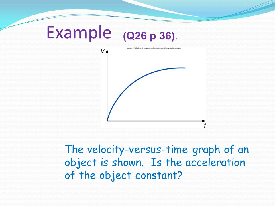 Example (Q26 p 36).The velocity-versus-time graph of an object is shown.