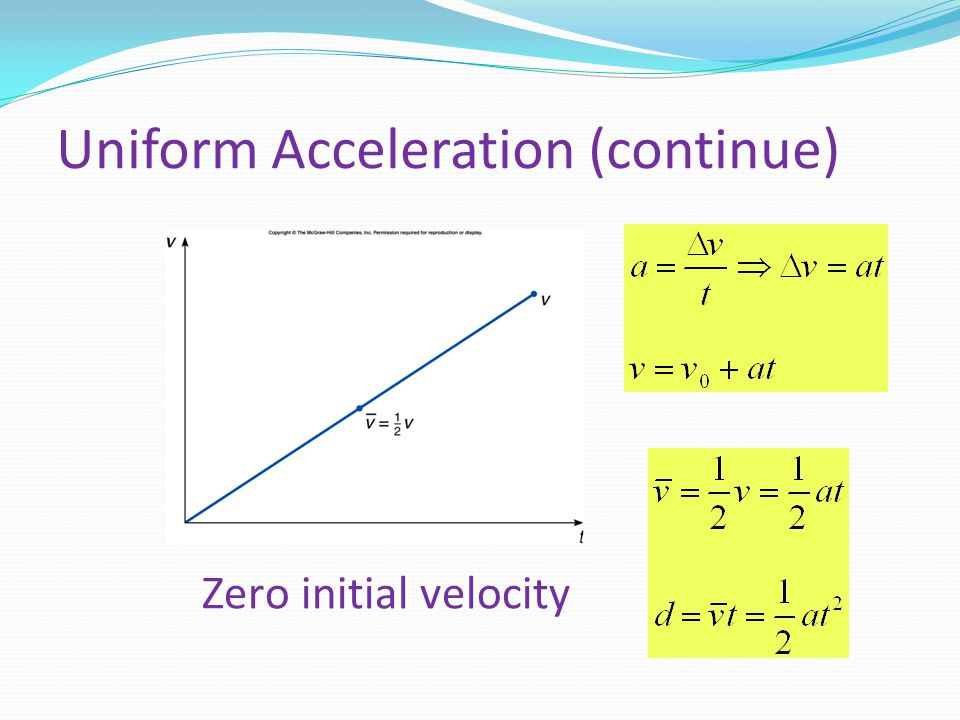 Uniform Acceleration (continue) Zero initial velocity