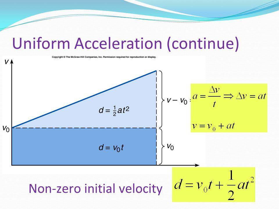 Uniform Acceleration (continue) Non-zero initial velocity