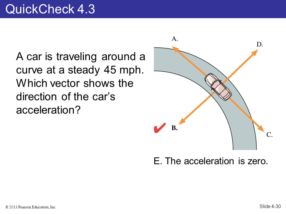 © 2013 Pearson Education, Inc. A car is traveling around a curve at a steady 45 mph. Which vector shows the direction of the cars acceleration? QuickC