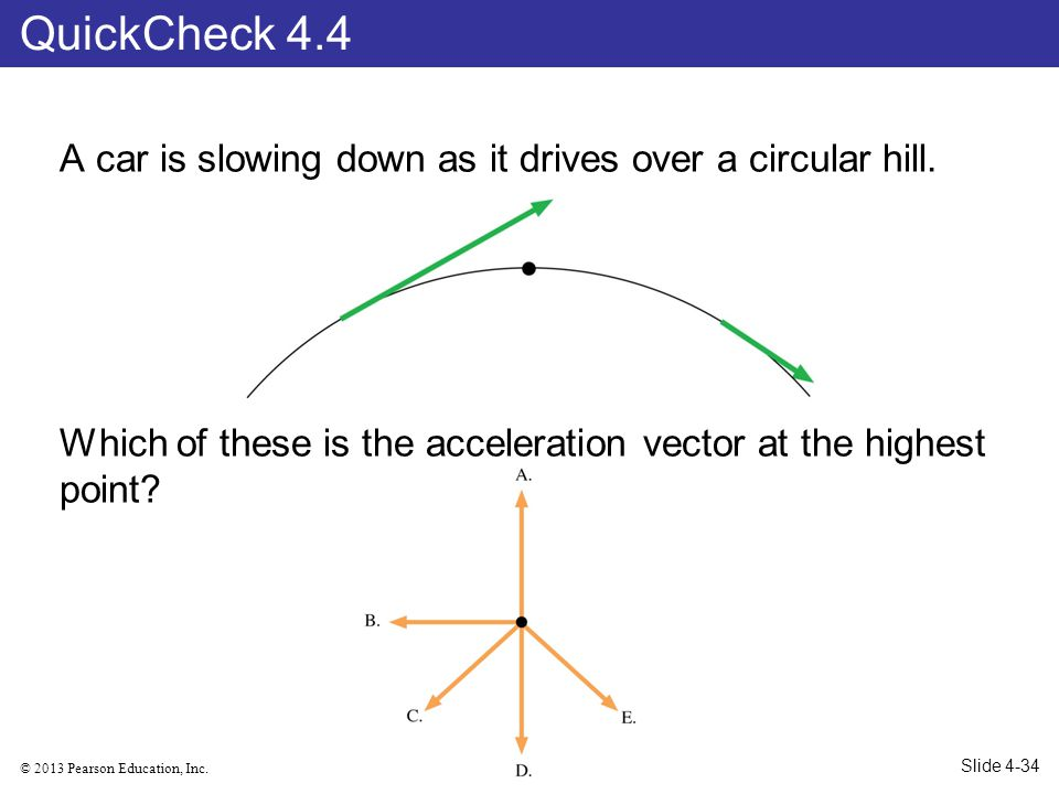 © 2013 Pearson Education, Inc. A car is slowing down as it drives over a circular hill. Which of these is the acceleration vector at the highest point