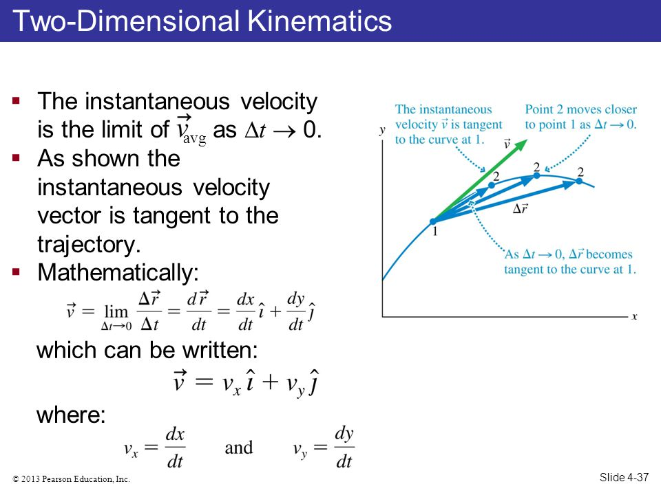 © 2013 Pearson Education, Inc. The instantaneous velocity is the limit of avg as t 0. As shown the instantaneous velocity vector is tangent to the tra