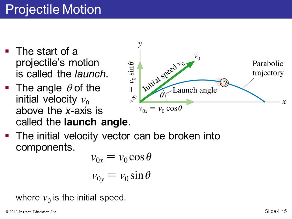 © 2013 Pearson Education, Inc. The start of a projectiles motion is called the launch. The angle of the initial velocity v 0 above the x-axis is calle