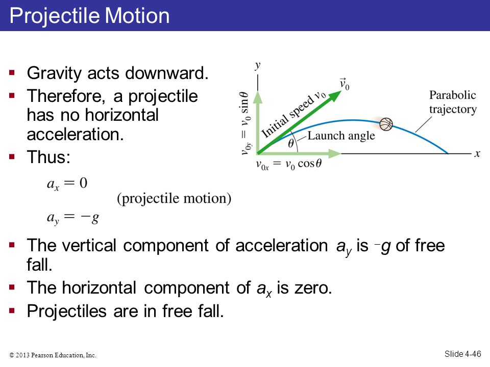 © 2013 Pearson Education, Inc. Gravity acts downward. Therefore, a projectile has no horizontal acceleration. Thus: The vertical component of accelera