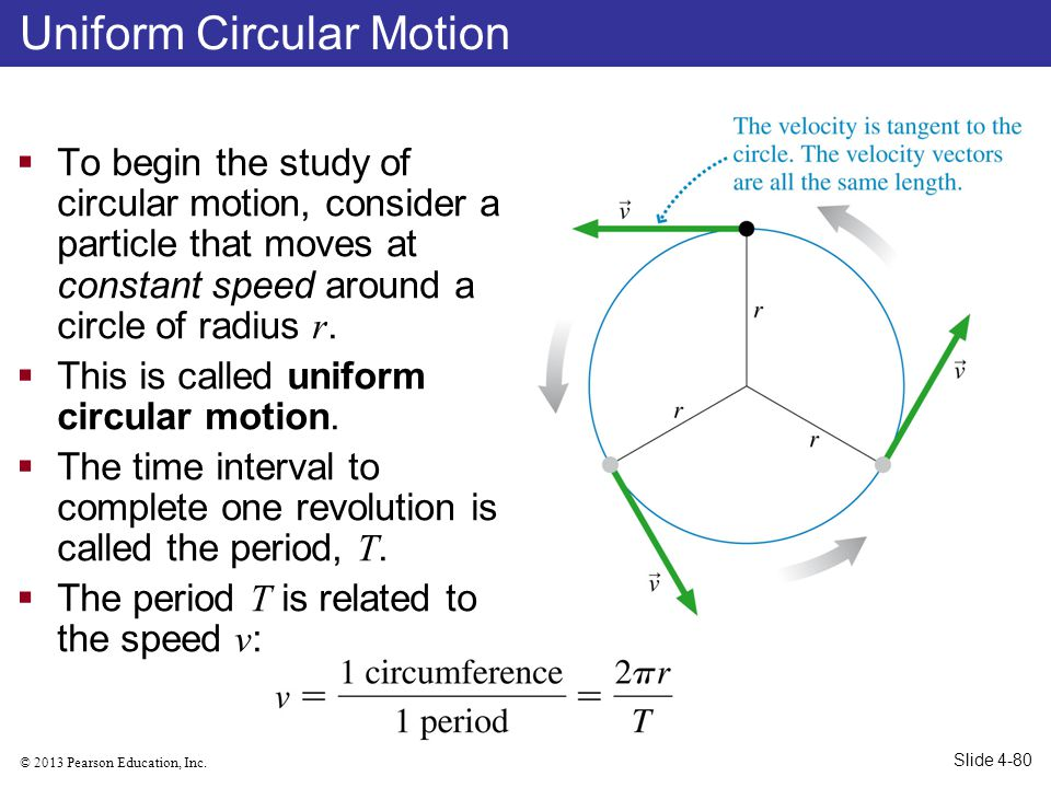 © 2013 Pearson Education, Inc. To begin the study of circular motion, consider a particle that moves at constant speed around a circle of radius r. Th