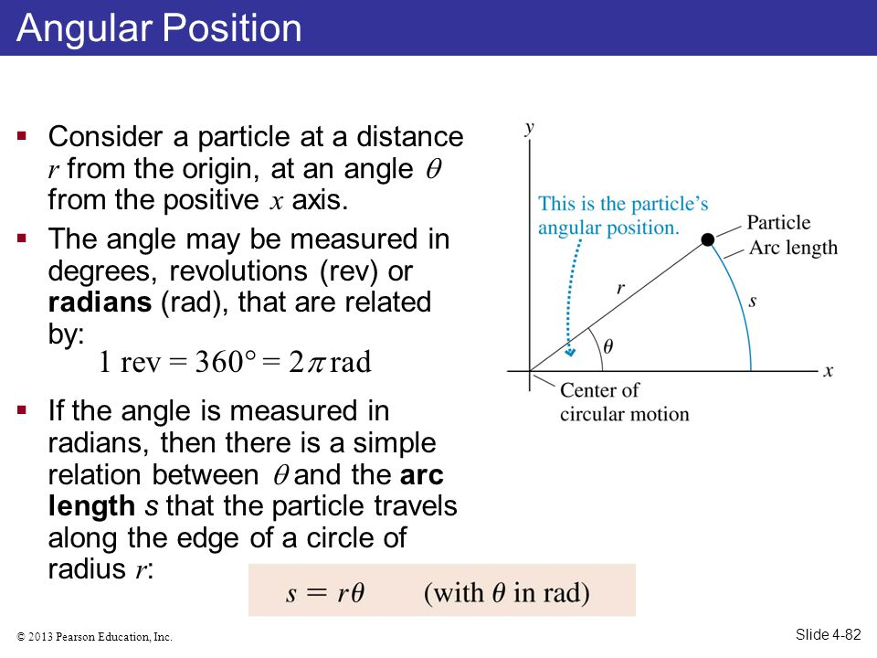 © 2013 Pearson Education, Inc. Consider a particle at a distance r from the origin, at an angle from the positive x axis. The angle may be measured in